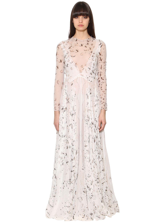 Valentino abito in chiffon di seta trasparente bianco donna ...